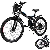 Electric Bike for Adults, 26'' Folding Electric Mountain Bike with Removable 36V 8AH Lithium-Ion Battery, 250W Motor Electric Bike, E-Bike with 21 Speed Gear and Three Working Modes (Black)