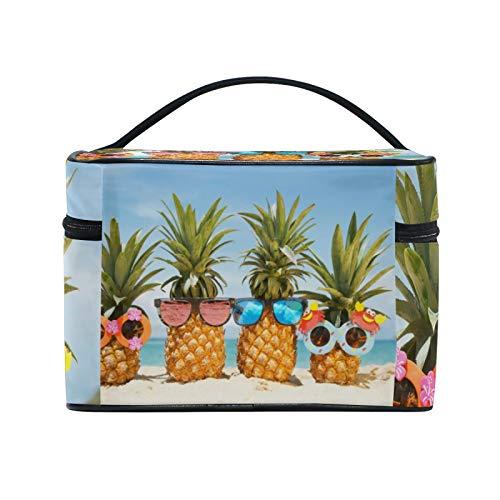 RELEESSS - Bolsa de viaje para maquillaje, playa, divertida, piña, grande, organizador de cosméticos, neceser para mujeres y niñas