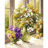 xinyouzhihi DIYPintarpornúmerosPequeñas Flores Junto a la Ventana Set de Bricolaje para Pintar con Pinceles Y Pinturas Decoraciones para El Hogar40x50cm (SinMarco)
