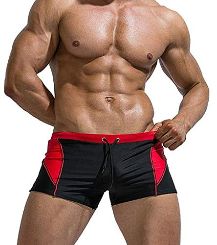 AceAcr Men's Swimwear Fashionable Swimming Tights Surfing Boxer Shorts Jammers Swimsuit Square Leg Endurance Training Brief Red