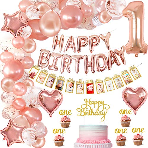 SPECOOL Décorations Anniversaire Fille 1 an, avec Banderole Photo Enfant 1-12 Mois Photo, Or Rose Happy Birthday Balloons,Ballons Confettis Latex Fournitures De Anniversaire 1er Fille Décoration