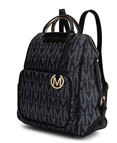Mia K Collection PU Leather Backpack Purse for Women & Teen Girls - Ladies Fashion Travel - Big Bookbag Top-Handle Black