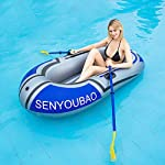 Inflatable kayak set fishing boat drifting diving rowing air boat with oars for kids adults 9 the inflatable boat can hold up to 90kg/198lb, suitable for 1-2 person, the float pool boat is made of thick pvc material, skin-friendly and durable the touring kayaks set package with paddles and a simple air pump(not electric), comfortable for you to sit inflatable dinghy boat is made of premium pvc material, which is stable and pressure resistance. The inflatable boat can be folded, easy to carry and storage