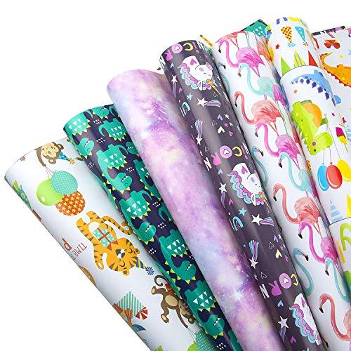 MOOKLIN ROAM Geschenkpapier, 6 Bogen Kinder Packungen Geschenkpapier mit 6 Verschiedene Designs für Geschenk Geburtstag Hochzeit Taufe Party und Kinder, 70 x 50 cm
