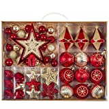 Valery Madelyn 70ct Luxury Red and Gold Shatterproof Christmas Ball Ornaments Decoration, Themed with Tree Skirt (Not Included)