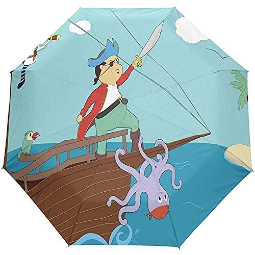 Merle House Automatische Regenschirme Clipart - Pirate Boa Golf Travel Sonne Regen Winddichtes Auto Öffnen Schließen Umbrellass mit UV-Schutz
