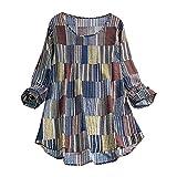 Lazzboy Women Donna top a manica lunga etnica strisce verticale Mezza pulsante O del collo camicetta 24 Blocco blu-Coloree