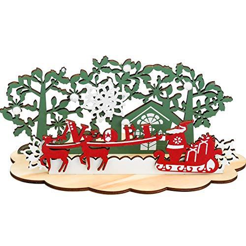 Inntek Adornos Navideños de Madera, Adornos Navideños de Mesa de 26,5 x 12,8 cm, Adornos de Árbol de Trineo de Papá Noel y Renos, Decoración Mesa, Centro de Mesa Navideño ✅
