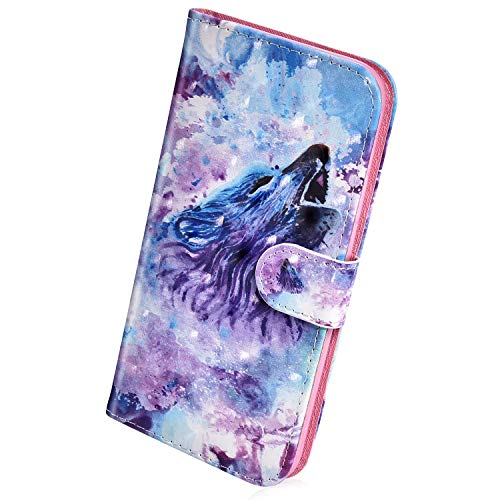 Find Discount Herbests Compatible with Huawei Y7 2019 Wallet Case Cute Colorful 3D Bling Glitter Pai...