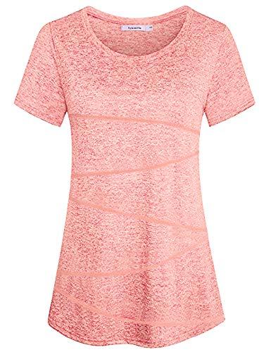 Sykooria Kurzarmshirt Damen Sportshirt Atmungsaktiv Dehnbar Leicht Yoga Hiking Sport Gym Fitness T-Shirt Damen Rosa
