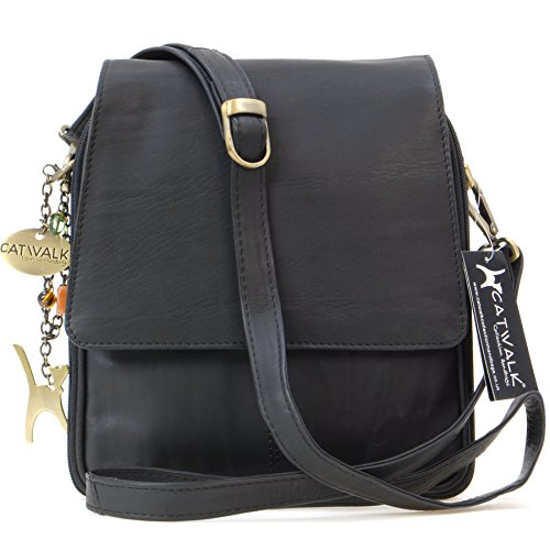 Catwalk Collection Handbags - Dames Leer Cross Body Schouder Tas - Organiser Messenger/Koerierstas met Lange Verstelbare Riem - METRO