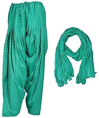 Monique Brand women's Apparel Fancy Ethenic Cotton Patiala salwar Pant and Dupatta Set (Free Size_MQDBPD12-G_)