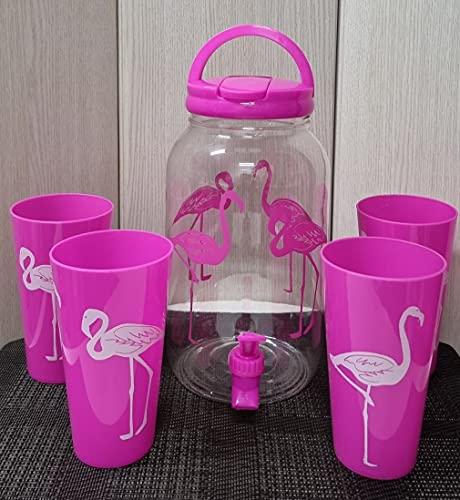 Set de Dispensador de Bebidas Frías con grifo de 3.8 litros con 4 vasos reutilizable de agua para bebidas plástico sin BPA. jarra dispensador con grifo de Bebidas de autoservicio