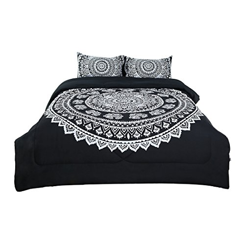 uxcell Full 3-Piece Bohemian Black Comforter Sets - 3D Printed Bohemia Themed - All-Season Down Alternative Quilted Duvet - Reversible Design - Includes 1 Comforter, 2 Pillow Cases