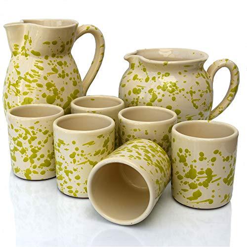 Set Sei Bicchieri in Terracotta, con Brocca Ursulo e Brocca Bombata Screziati Verde, Set Brocca e Bicchieri, Set Bicchieri Acqua e Vino, Bicchieri Colorati, Brocca Vino, Brocca Acqua