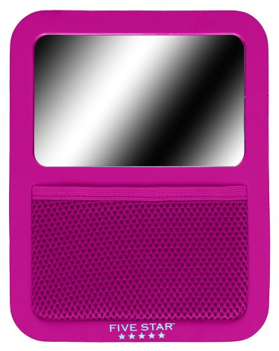 "Five Star Locker Accessories, Magnetic Locker Mirror with Storage Pocket, 7 ""x 9"", Berry Pink/Purple (72586)"