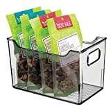 mDesign Fiambreras para el frigorífico – Cajas de plástico para guardar alimentos – Organizador de nevera para lácteos, frutas y otros alimentos – gris humo