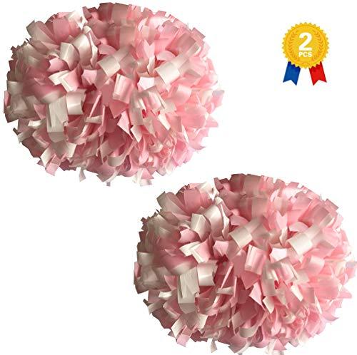 "KUYOUGOU 1 Pair 2 Pieces 6"" Plastic Cheerleader Cheerleading Pom Poms (Light Pink/White)"