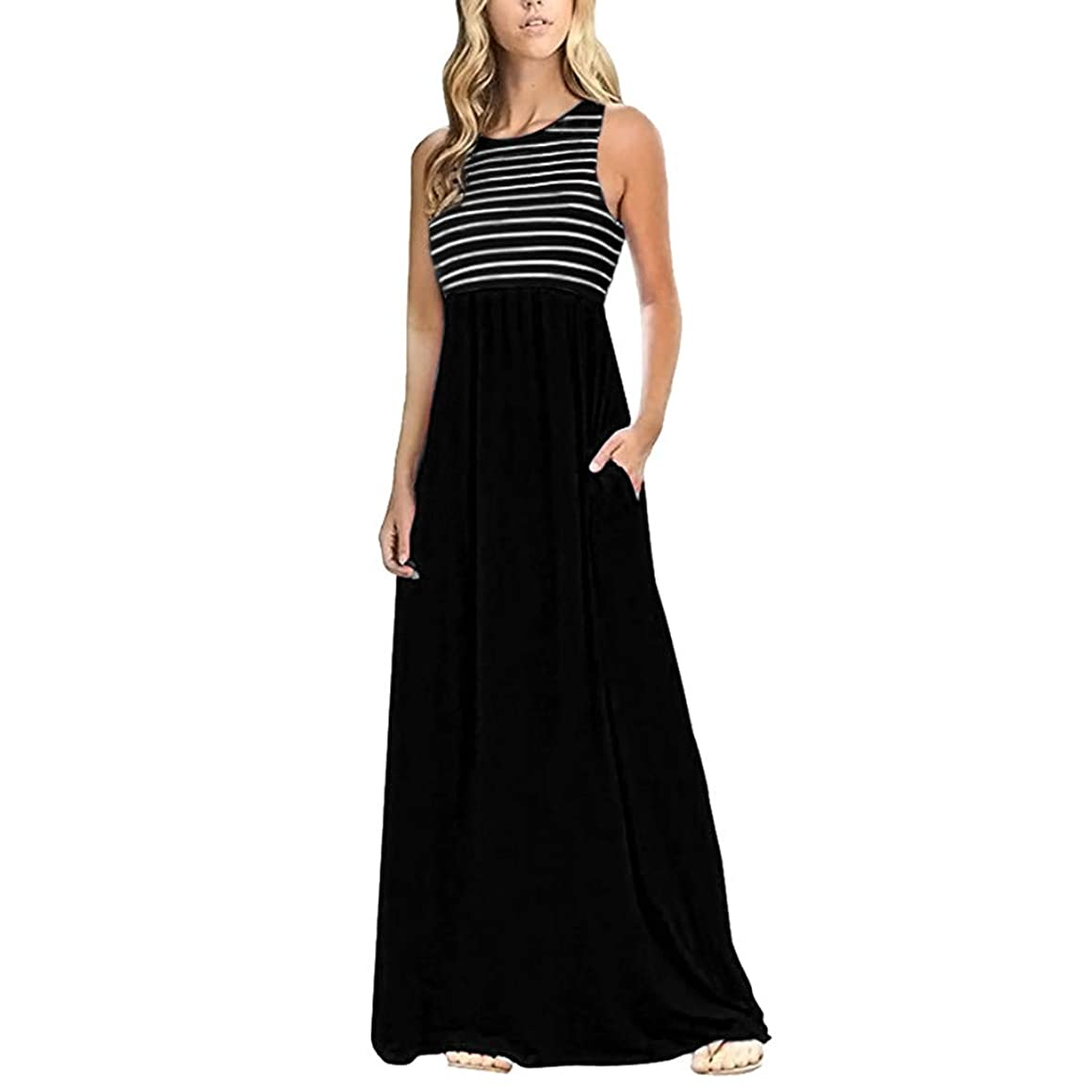Miuye Maxi Dresses for Women Striped Sleeveless Crew Neck Party Dress Simple Long Cocktail Dresses with Pockets
