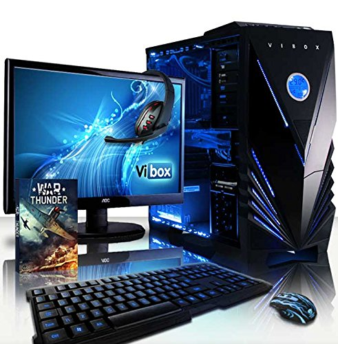 Vibox VBX-PC-1100 Sharp Shooter pakket 10 54,6 cm (21,5 inch) Gaming Desktop PC (AMD Phenom Quad Core FX-8350, 16GB RAM, 2120GB HDD, NVIDIA Geforce GTX 960, geen besturingssysteem) blauw
