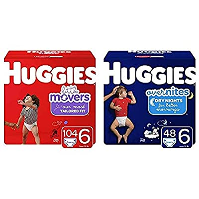 Huggies Day/Night Bundle- Little Movers Baby Diapers, Size 6, 104 Ct, One Month Supply & Overnites Nighttime Diapers, Size 6, 48 Ct (Packaging May Vary)
