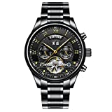 Aquaasian Automatic Mechanical Chronograph Stainless Steel Strap Quartz Analogue Black Dial Men's Wristwatch