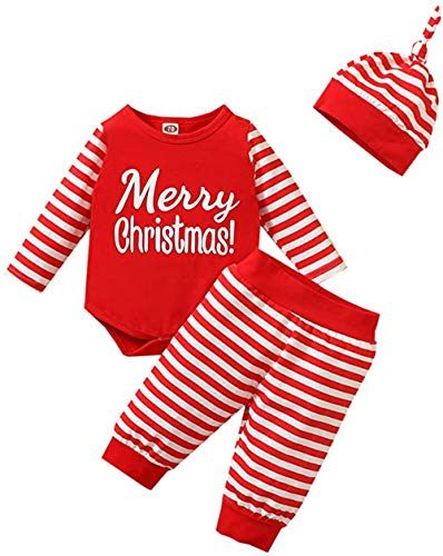 Baby Weihnachtsoutfit Mädchen Jungen Weihnachten Kleidung Langarm Body Weihnachtsstrampler + Hose + Mütze Babykleidung Set Neugeborenen 0-6 Monate 3tlg Outfits (Merry Christmas, 0-6 Monate)