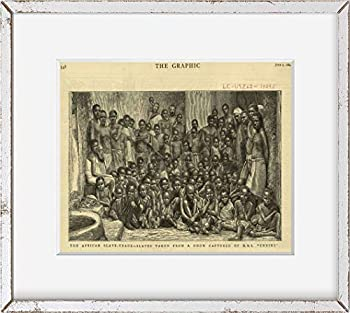 Historic Photos 1884 Photo The African slave-trade - slaves taken from a dhow captured by H.M.S.Undine Print shows African men women and many children In the background two British sailors.