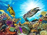 QMGLBG 5Dダイヤモンド塗装 カラフルな水中の生き物風景ダイヤモンド塗装大人の子供クリスタルラインストーンアート壁の装飾30*40cm