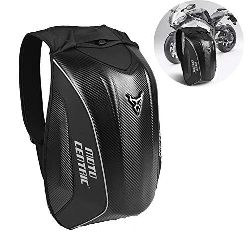 GUARDUU Motorcycle Backpack Waterproof Motorbike Helmet Bag High Capacity Laptop Backpack Carbon Fiber Hardshell Travelling Camping Cycling Storage Bag,A