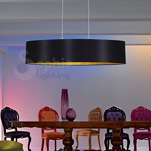 Sophie Lighting EG 61613 Lustre lampe suspension réglable pour salle à manger abat-jour en tissu 100 cm design moderne noir or