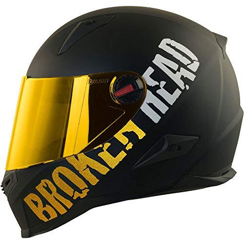 Broken Head BeProud Gold - Schlanker Motorradhelm Mit Goldenem Zusatz-Visier - Matt-Schwarz - Größe L (59-60 cm)