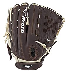 professional Mizuno Franchise Fast Pitch Series Softball Gloves, Coffee / Silver Tartan Fabric, 13inch Left (Right Hand …)