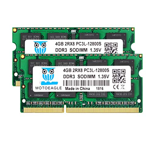 motoeagle DDR3L-1600 SODIMM PC3L 12800S 8Go (2x4Go) DDR3L 1600MHz 4GB PC3 12800S 204-Pin CL11 1.35V d'ordinateur Portable Mémoire RAM