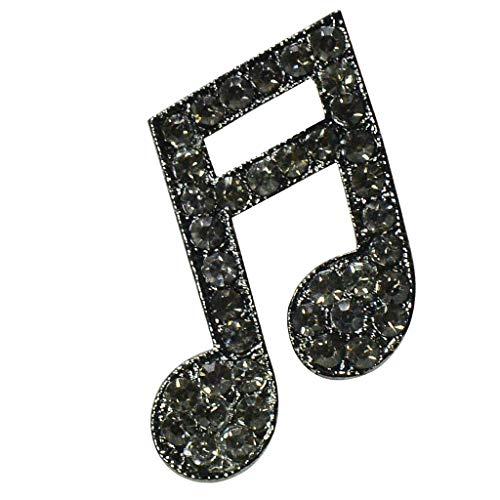 Hellery Broche De Broche De Nota Musical De Cristal Brillante Para Fiesta, Vestido De Diario, Decoración De Joyas - Negro, 3.0x2.6cm
