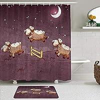 MIMUTI シャワーカーテン バスマット 2点セット 羊がフェンスを飛び越えるカジュアルなミニマリストスタイルの月の夜 自家 寮用 ホテル 間仕切り 浴室 バスルーム 風呂カーテン 足ふきマット 遮光 防水 おしゃれ 12個リング付き
