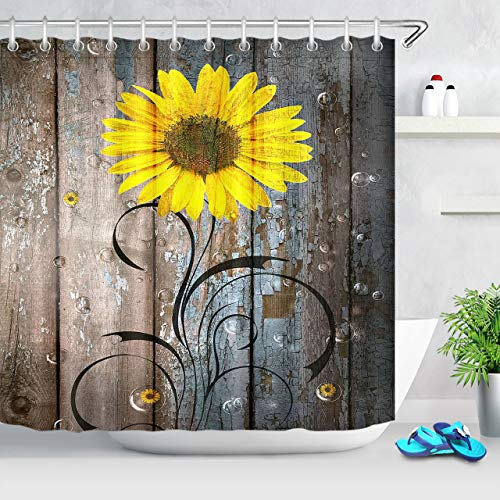 LB Country Style Bright Color Sunflower Shower Curtain Yellow Flowers with Bubbles on Rural Wood Panel Bathroom Curtain 72x72 Inch Waterproof Funny Bathroom Decor with 12 Hooks