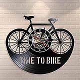 Tiempo para Ciclistas, Cita de inspiración, decoración del hogar, Bicicleta de montaña, Reloj de Pared, Antiguo, Bicicleta, Ciclista, Reloj de Pared con Disco de Vinilo Retro