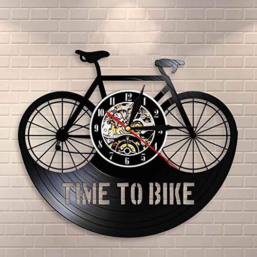 BFMBCHDJ Time To Bike Bikers Cita inspiradora Decoración para el hogar Reloj de Pared para Bicicleta de montaña Bicicleta de Ciclismo Antiguo Reloj de Pared con Registro de Vinilo Retro