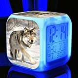 ZWJXYR Forest Wolf Alarm Clock Customize Picture Wake Up Light USB Powered for Children's Festival Gifts Multifunction Color Changing Digital Alarm Clock D