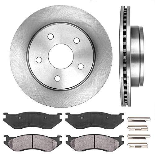 CRK14107 FRONT 336 mm Premium OE 5 Lug [2] Brake Disc Rotors + [4] Ceramic Brake Pads + Hardware