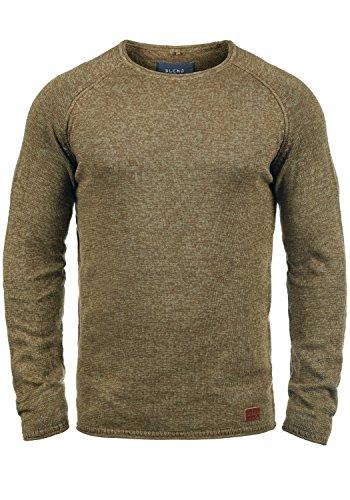 Blend Dan Herren Strickpullover Feinstrick Pullover Mit Rundhals Und Melierung, Größe:L, Farbe:Mocca Brown (71508)