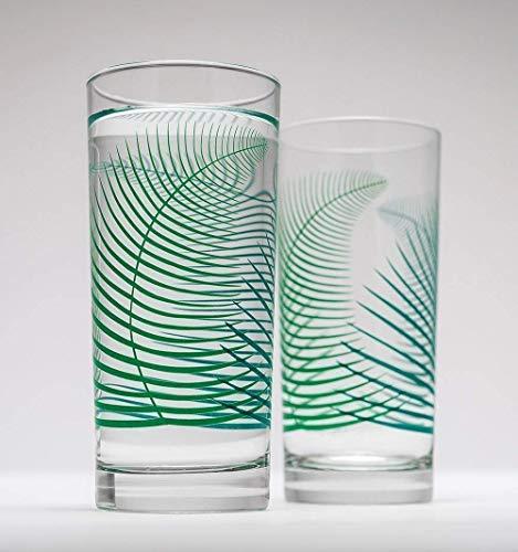 Summer Ferns Glassware - Set of 2 Everyday Drinking Glasses, Wedding Gift, Gift for Her