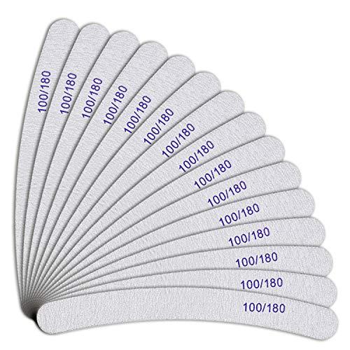 URAQT 15 Stück Nagelfeilen 100/180 Grit, Nagelfeilen Doppelseitige, Doppelseitige Einweg Nagelfeile, Nagelfeilen für Gelnägel, Nagelfeilen Einweg, Kern in Lila, Bananenfeile