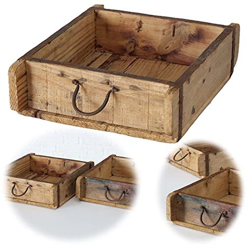 LS-LebenStil Holz Aufbewahrung-Box 31x25x10cm Cutlery Dekoration Ziegelform-Optik