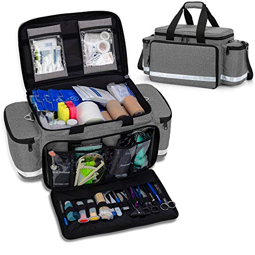 Trunab Emergency Responder Trauma Bag Empty, Professional First Aid Kits Storage Medical Bag with Inner Dividers and Anti-Scratch Bottom, Ideal for EMT, EMS, Paramedics, Grey, Bag ONLY