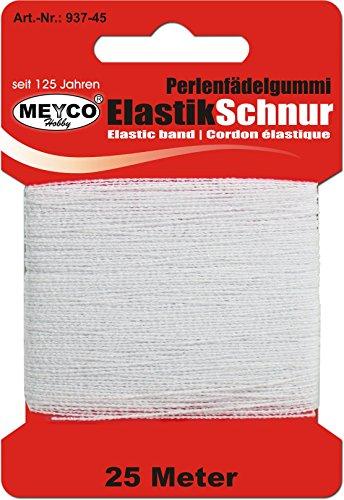Perlen-Fädelgummi - Elastik-Schnur Schmuck - weiß, 25m