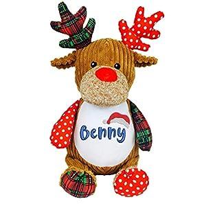 Weihnachten Geschenk Teddybär mit namen bestickt Personalisiert Stofftier Kuscheltier Namenplüschtier Weihnachtsmann…