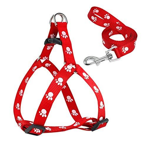 LWXFXBH Juego de arnés y Correa de Perros de Nylon Ajuste de Perros de impresión de Pata Ajustable para Perros pequeños y medianos S/M/L (Color : Red, Size : M)