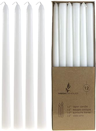 Amazon Com Mega Candles 12 Pcs Unscented White Straight Taper Candle Hand Poured Wax Candles 12 Inch X 7 8 Inch Home Décor Wedding Receptions Baby Showers Birthdays Celebrations Party Favors More Home